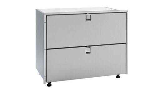 Isotherm Double Drawer 190 Refrigerator - AC/DC, 3 Side Stainless Steel Flange - All Refrigerator, no freezer