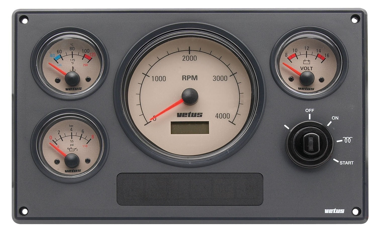 Vetus Engine Panel Type MP34, 24 Volt, With Cream Instruments
