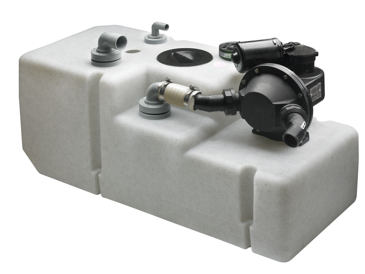 Vetus waste water tank system 120 ltrs, incl 24 volt pump, float and suction pipe (excl angled fittings)