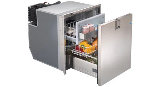Isotherm Drawer 65 Stainless Steel Refrigerator with Freezer Compartment, AC/DC, 4 - Sided Stainless Steel Flange