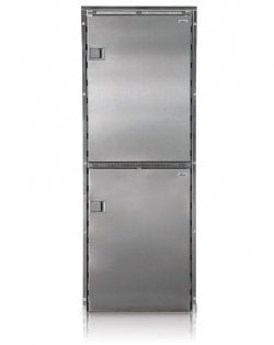 Isotherm Cruise 220 Upright Refrigerator -  AC/DC - 7.8 cu. ft. (4.6 cu. ft. top fridge / 3.2 cu. ft. bottom freezer) – Stainless Steel - Right Swing