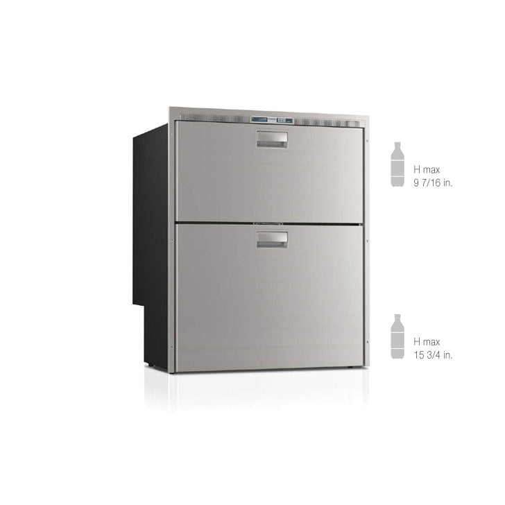 Vitrifrigo Stainless Steel Double Drawer Refrigerators and Freezers with Ice Maker Flush Flange DW210IXD1-EFI-2