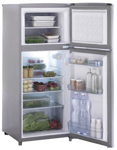 Cruise 165 Upright Classic Refrigerator/Freezer - 5.8 cu. ft. (4.4 / 1.4 cu. ft.),  AC/DC. Silver Color