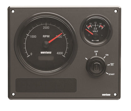 Vetus Engine Panel Type MP22, 12 Volt, With Black Instruments