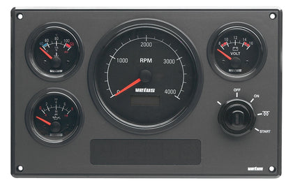 Vetus Engine Panel Type MP34, 24 Volt, With Black Instruments