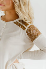 Beautiful Boho Girl Henley Top