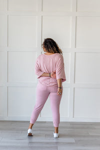 Lazy Weekend French Terry Joggers- Pink