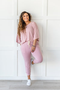Lazy Weekend French Terry Top- Pink