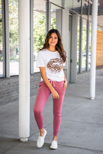 Leopard Print Distressed Lips Graphic Tee