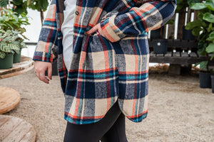 Mountain Adventure Flannel Top-blue and rust