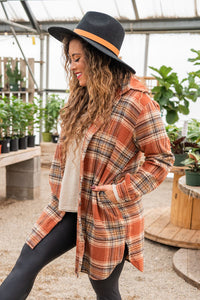 Mountain Adventure Flannel Top- Rust
