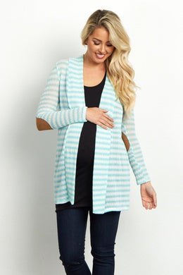 Mint Striped Cardi w/elbow patch