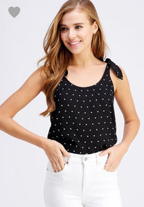 Polka Dot Tie Sleeve Tank - SkyDenae Boutique