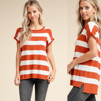 Stripe Burnt Orange Sweater