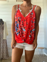 Floral Red Button Tank L & XL