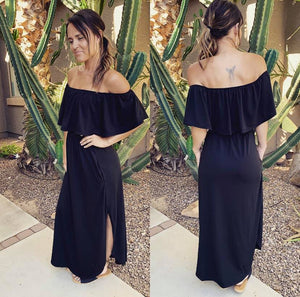 Off Shoulder Summer Casual Long Ruffle Beach Maxi Dress with Pockets - 2 colors