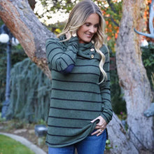 Long Sleeve Scalloped Neck Striped Tunic Sweater - 2 Colors