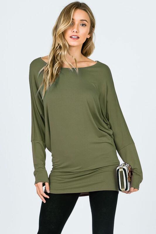 DOLMAN SLEEVE KNIT TOP WITH BOAT NECK - 2 Colors