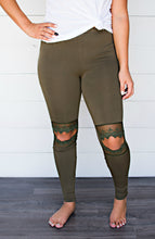 Olive Lace Cut Out Leggings