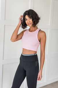 Work It Out Cropped Tank Top- Pink
