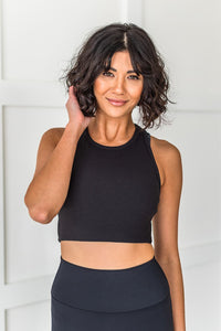 Work It Out Cropped Tank Top- Black