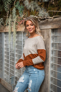 Somewhere To Go Color-block Top - Rust