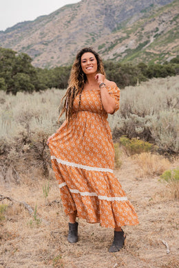 So Beautiful Smocked Maxi Dress- Rust