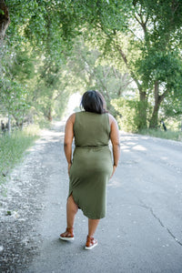 Story Of My Life T-shirt Dress- Olive