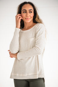 Keep It Casual Ribbed Striped Top