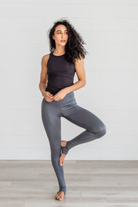 High Waist Stirrup Leggings- Gray