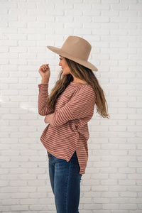 Keep it Casual Ribbed Striped Top- Rust and Ivory