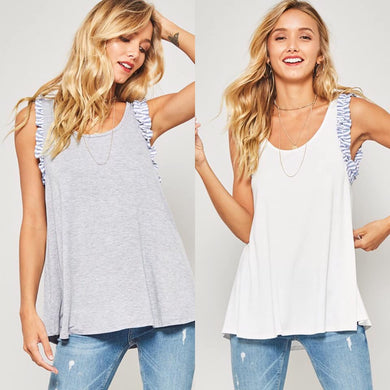 Ruffle Me Up Tank - 2 Colors