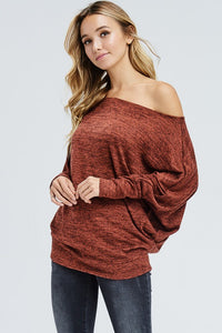 Off The Shoulder Sweater - Rust - SkyDenae Boutique