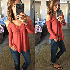 Cold Shoulder Thermal - 3 colors - SkyDenae Boutique