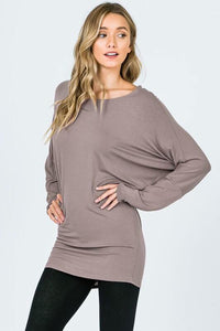 DOLMAN SLEEVE KNIT TOP WITH BOAT NECK - 2 Colors - SkyDenae Boutique