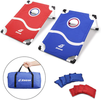 Framed Cornhole Game Set with 8 Bean Bags and Travel Carrying Bag