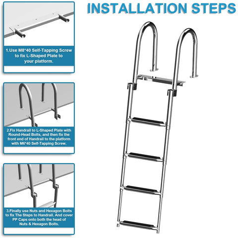 Foldable  4 Step Swim Deck Ladder with Pedal Hand Railing