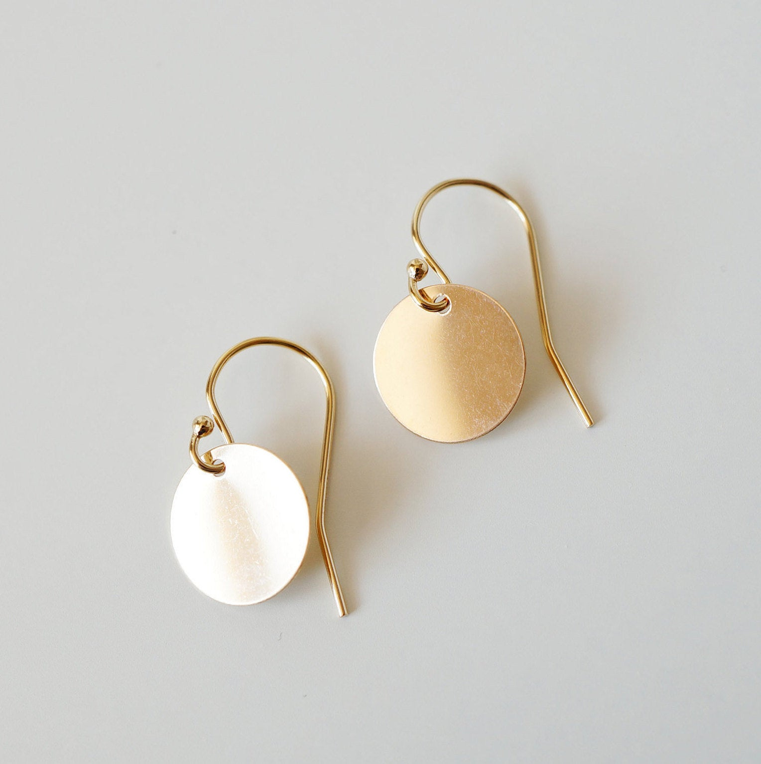 Gifts for sister  Dainty earrings Gold Coin Circle Earrings on 14K Gold-filled wires Melanie