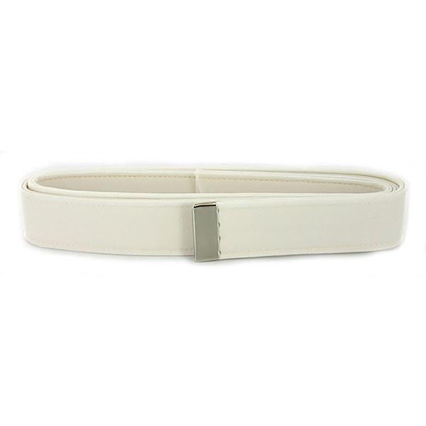 AS-IS NAVY Women's Belt White CNT - Silver Tip
