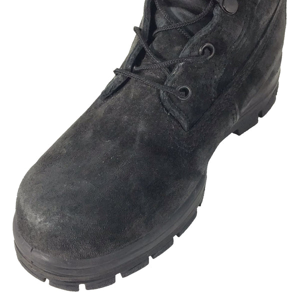 "AS-IS NAVY Women's 9"" Black Suede Durashocks Steel-Toe Work Boots (Bates E01778)"