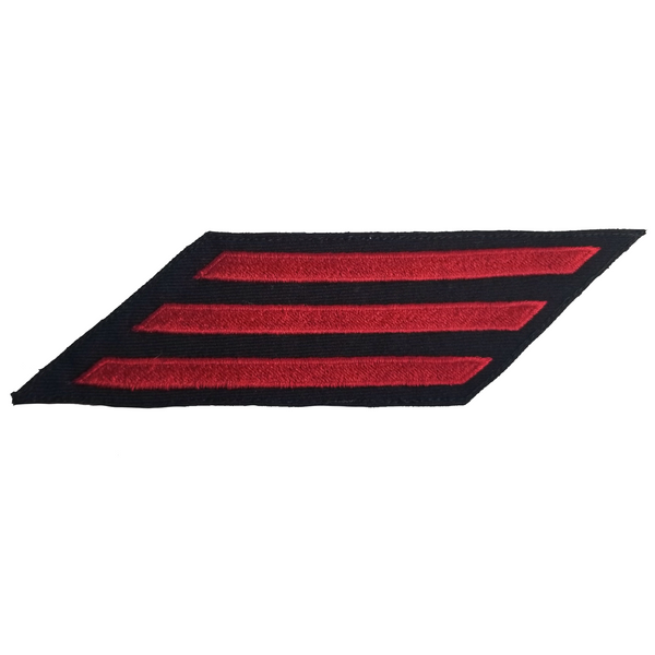 NAVY Men's Service Stripes Enlisted: 3 Stripes - Red & Blue Serge Wool