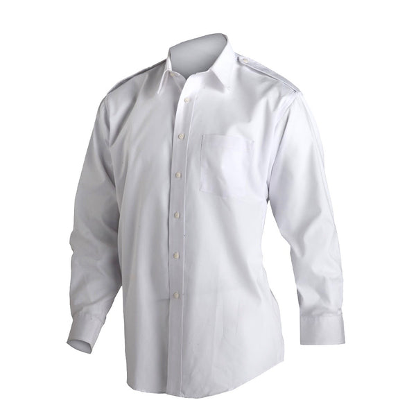 AS-IS NAVY Men's Brooks Bros Service Dress White Shirt - L/S