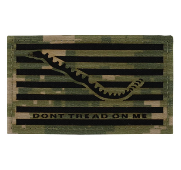 "NAVY NWU Type-III Fabric Green Small Shoulder Patch ""Don't Tread On Me"" on Velcro"