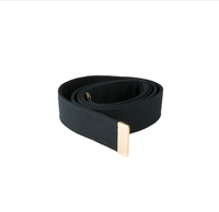 NAVY Men's Belt Black Poly/Wool - Gold Tip