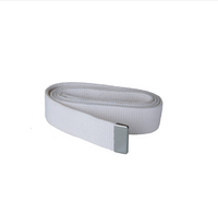 AS-IS NAVY Men's White Cotton Belt - Silver Tip