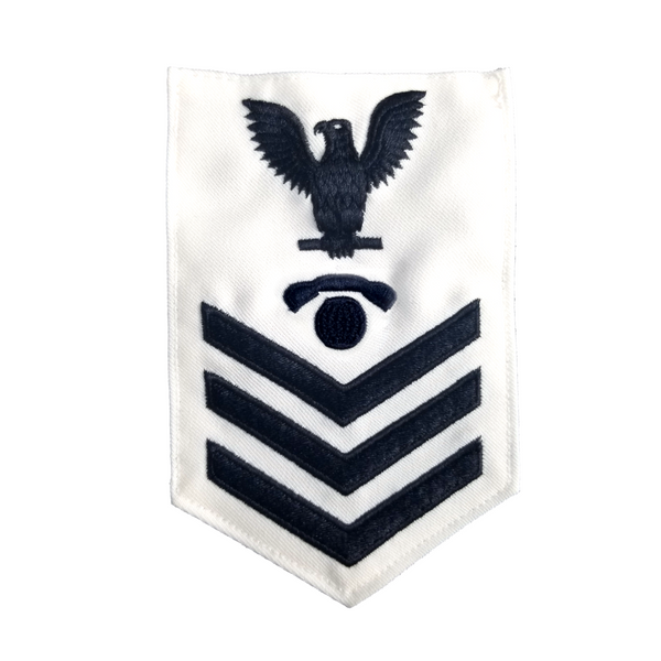 NAVY Men's E4-E6 (IC) Rating Badge: Interior Communications Electricians - White