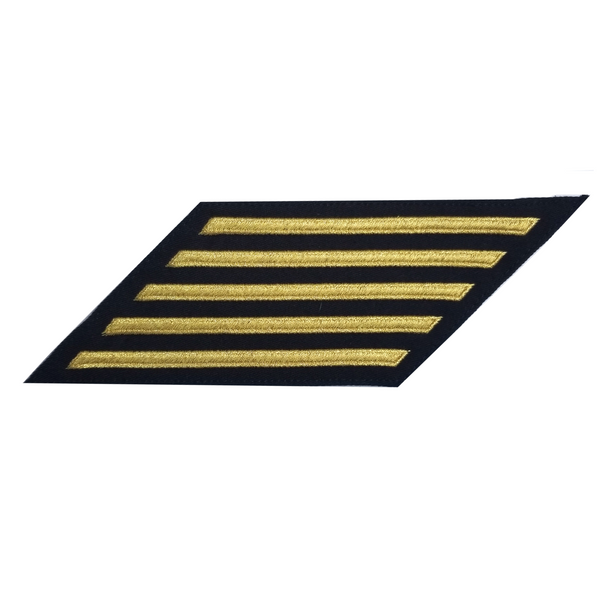 NAVY Women's Service Stripes: 5 Stripes - Gold & Blue Poly Wool