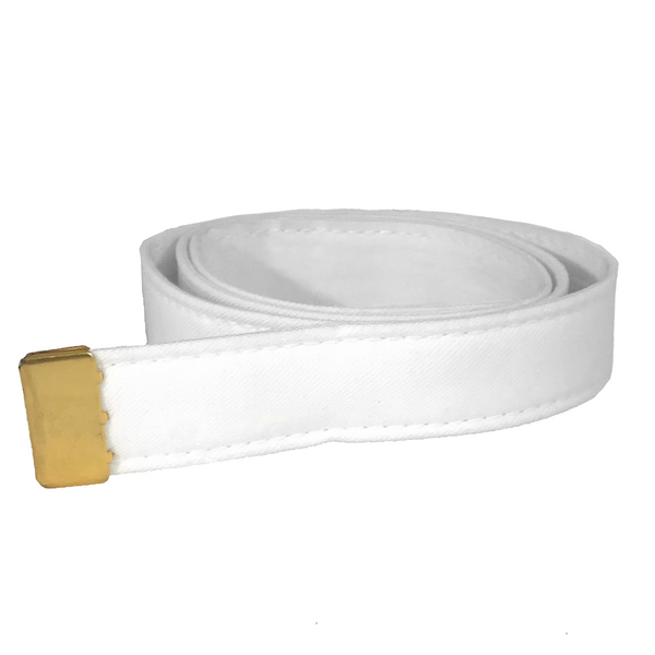 NAVY Women's White Poly/Wool Belt- Gold Tip