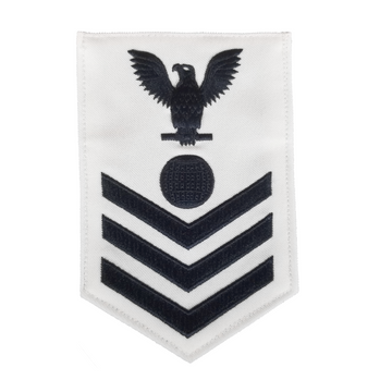 NAVY Men's E4-E6 (EM) Rating Badge: Electrician's Mate - White