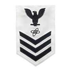 NAVY Men's E4-E6 (ET) Rating Badge: Electronics Technician - White